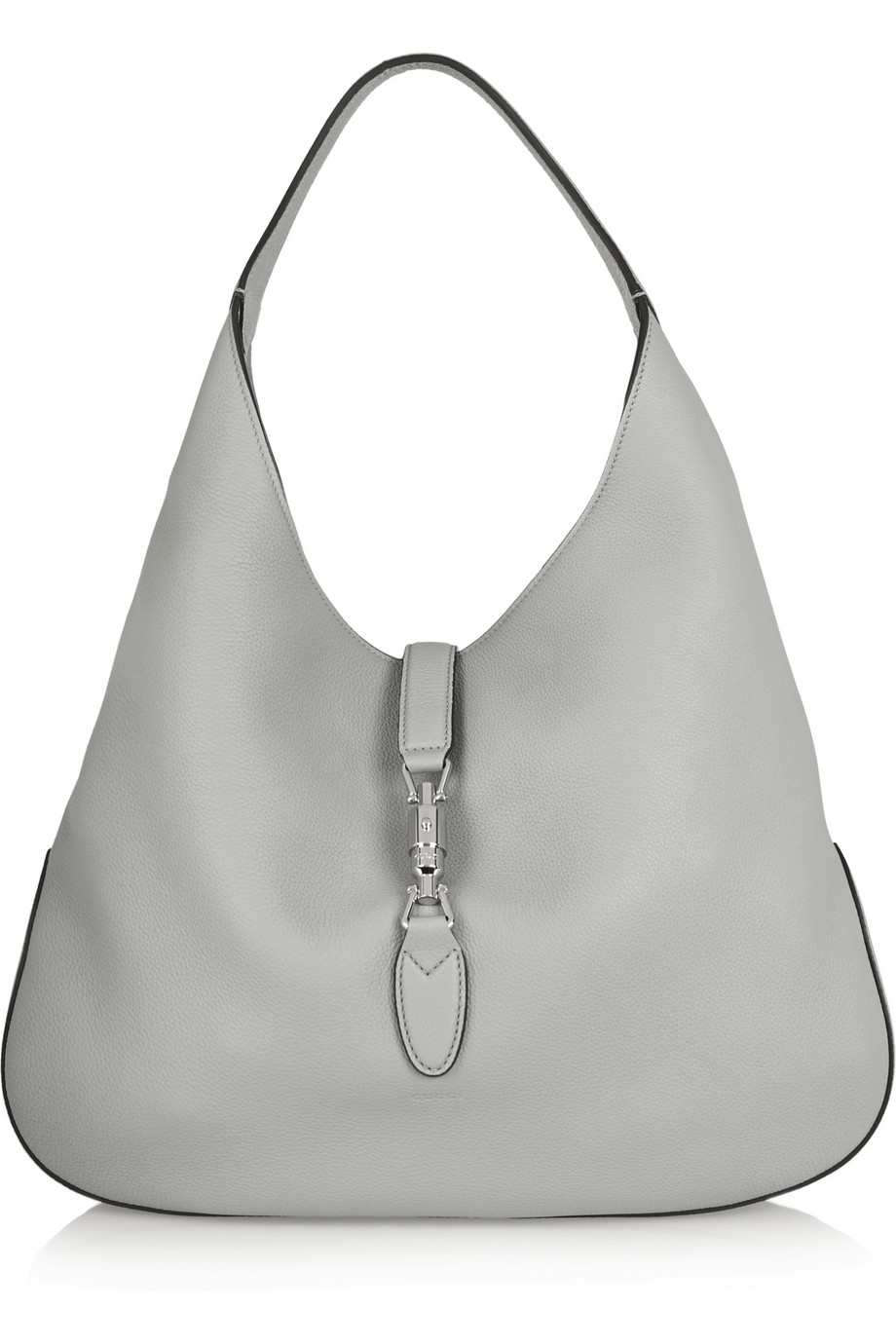 0852e37a01de7 Lyst - Gucci Jackie Soft Hobo Textured-leather Shoulder Bag in Gray
