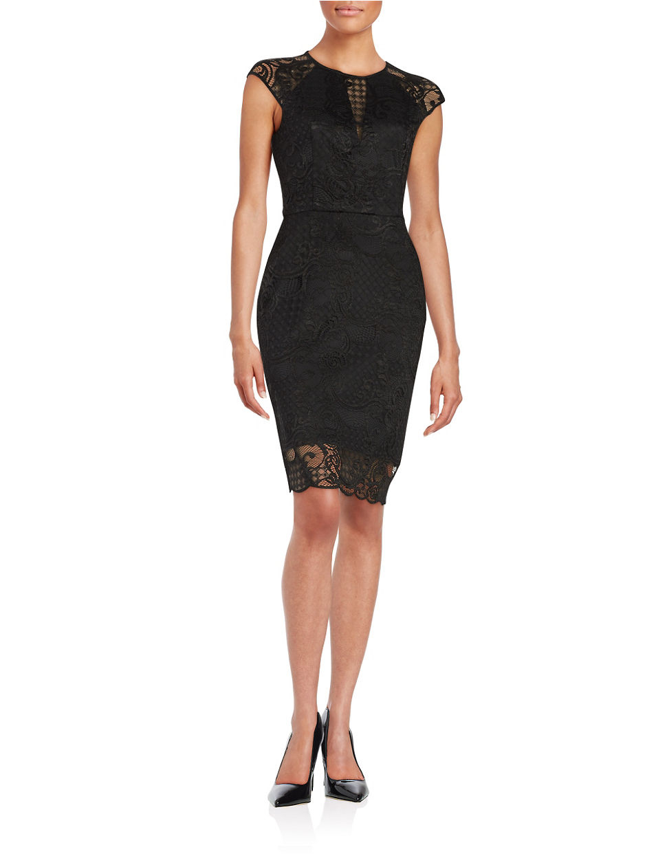Guess lace sheath dress in black lyst for Guess dresses for wedding