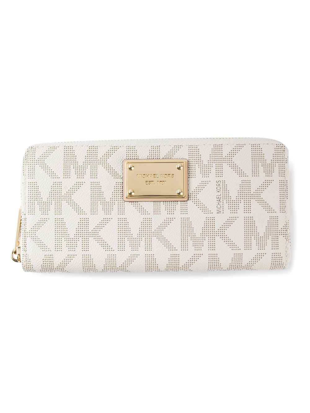 Lyst Michael Kors Logo Print Wallet In White