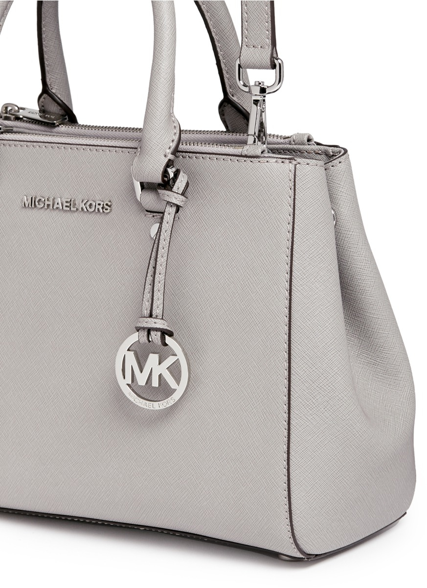 9a468bd931bb ... best price michael kors sutton small saffiano leather satchel in gray  lyst 3cd1a 05df8
