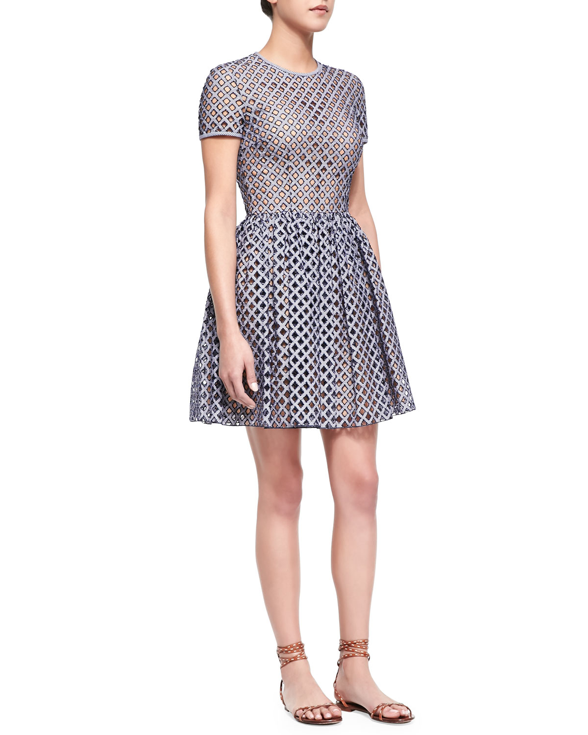 Michael kors Lattice Gingham Fit and flare Dress in Blue