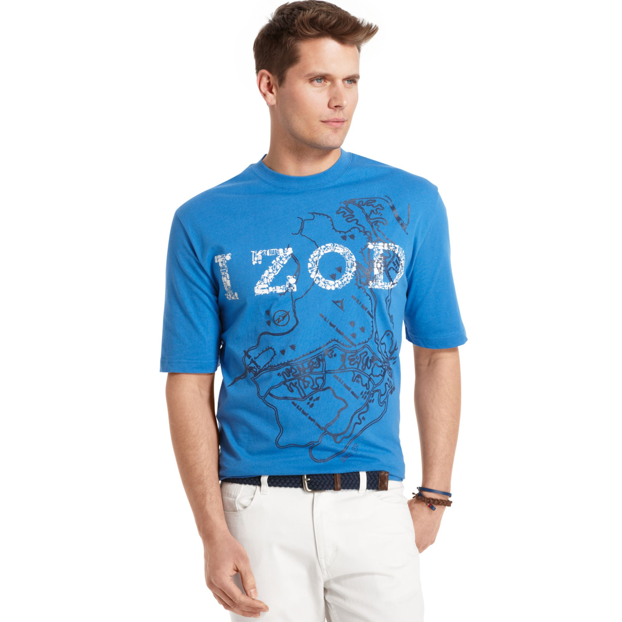 Izod big and tall map graphic tshirt in blue for men deep for Izod big and tall shirts