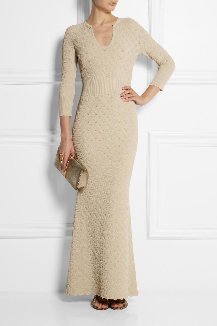 Alexander Mcqueen Textured Knit Maxi Dress In Natural Lyst