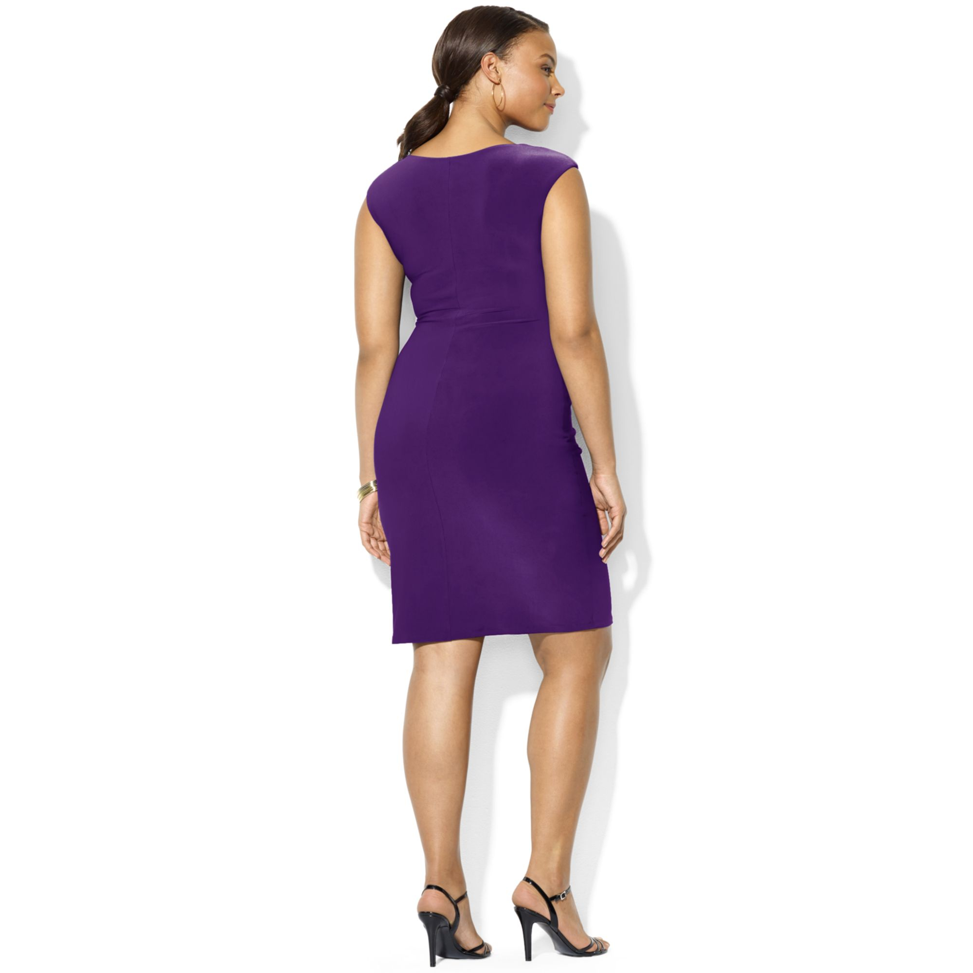 Lyst Lauren By Ralph Lauren Plus Size Cap Sleeve Drape Neck Dress