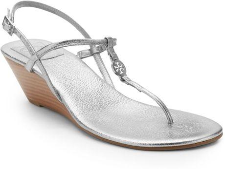 Tory Burch Emmy Metallic Leather Wedge Sandals in SilverTory Burch Emmy Wedge Sandals