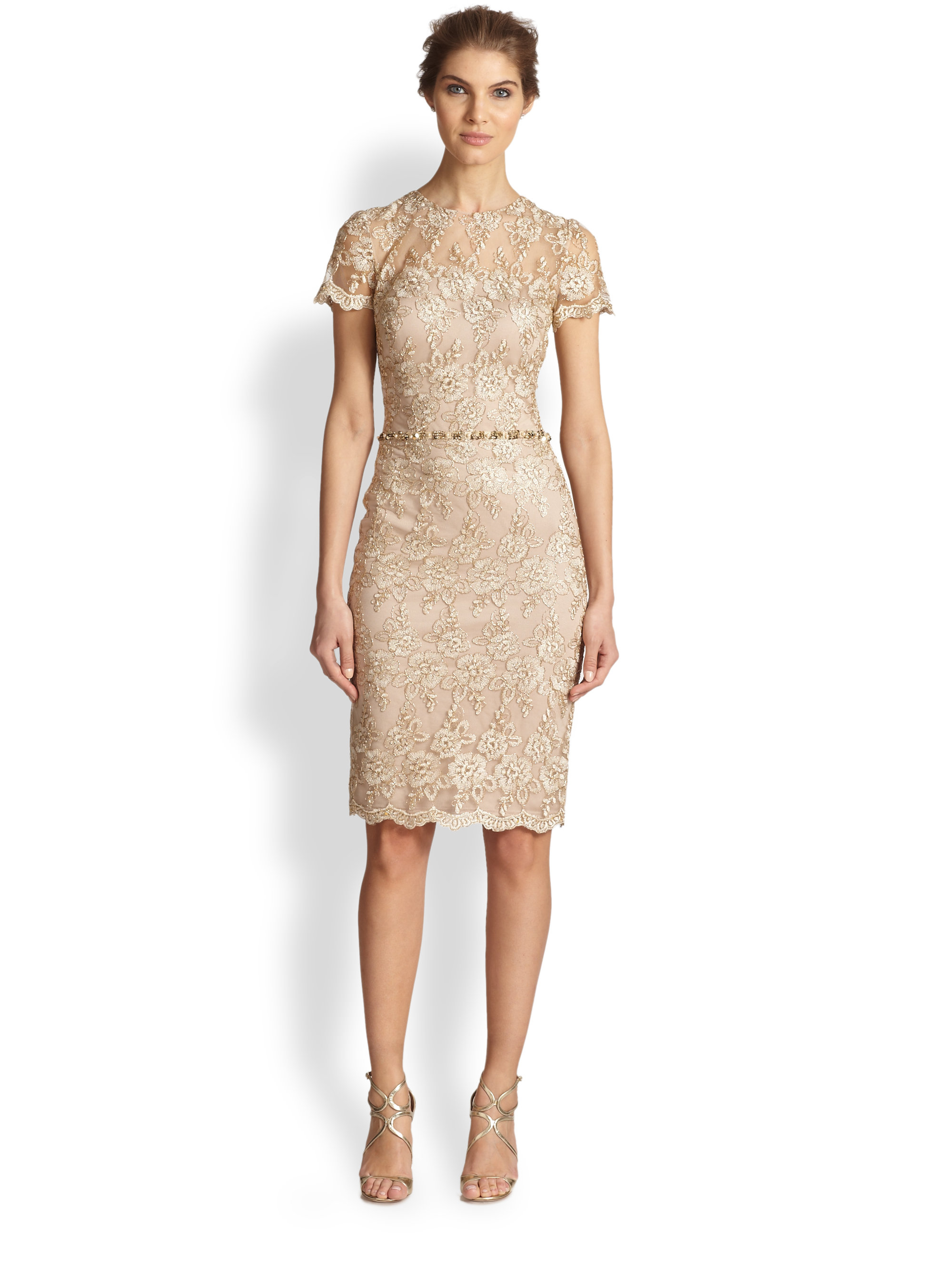 David meister Shortsleeve Lace Dress in Natural | Lyst