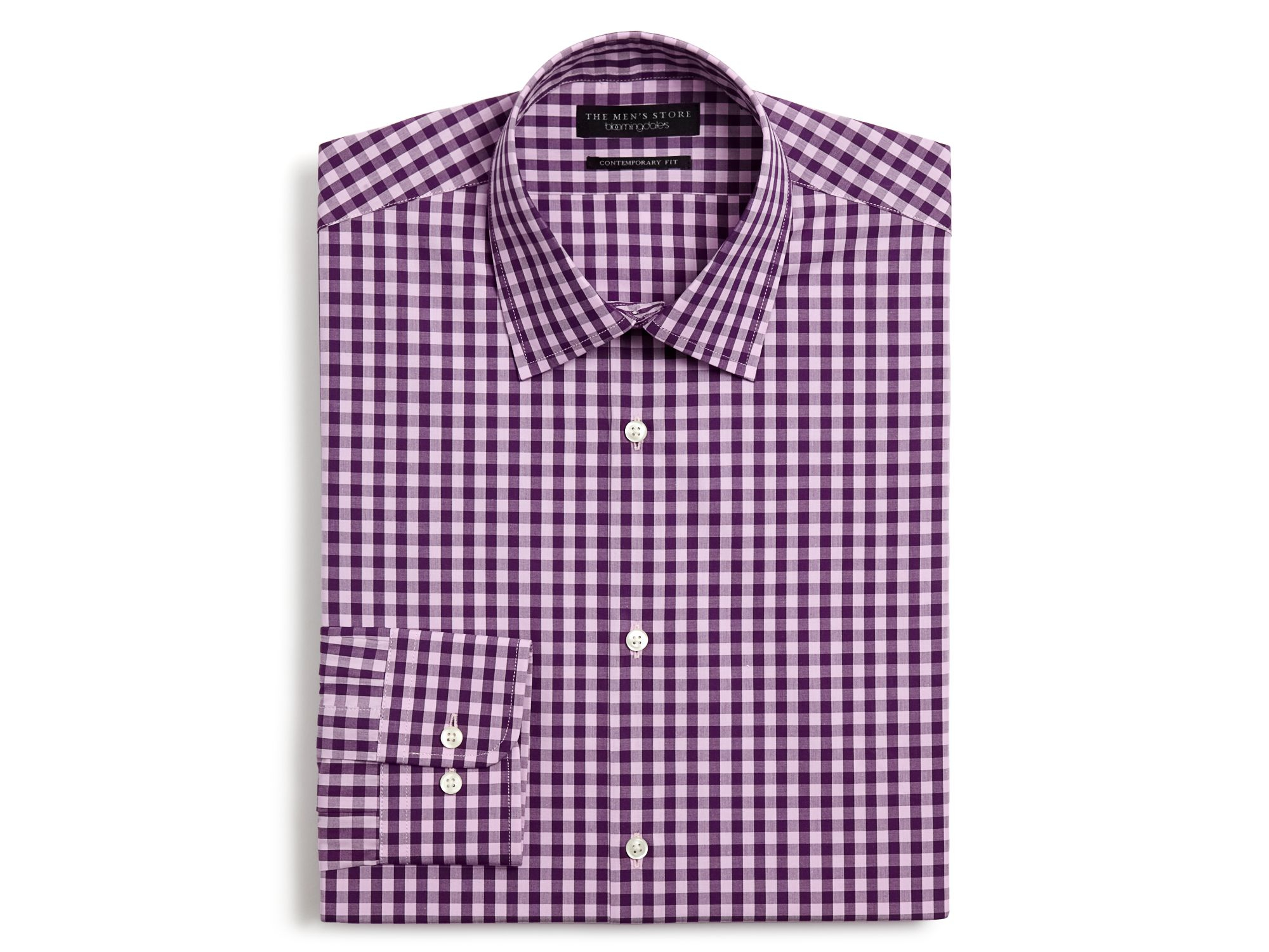 Lyst bloomingdale 39 s gingham dress shirt slim fit in for Men s red gingham dress shirt