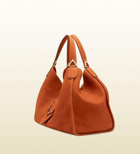 Gucci Soft Stirrup Nubuck Suede Shoulder Bag 38