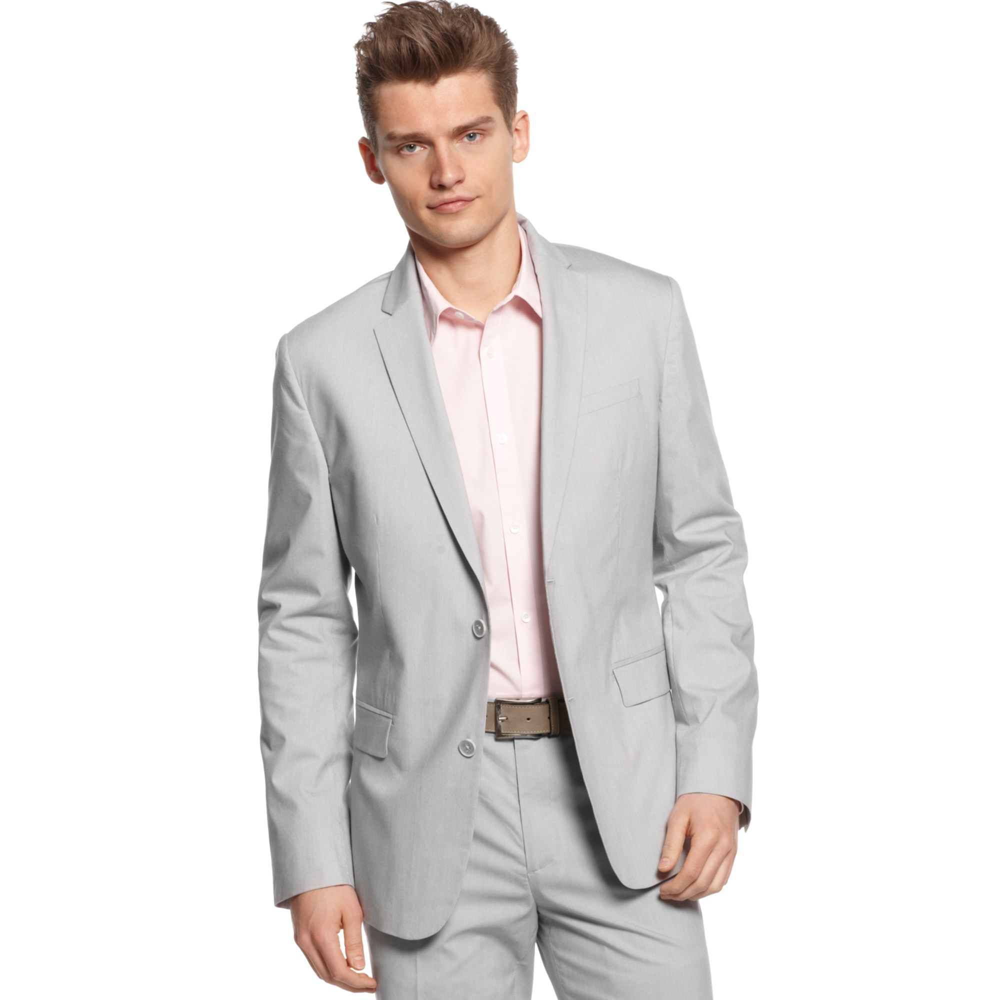 Lyst - Calvin Klein Two Button Micro Stripe Blazer in Gray for Men