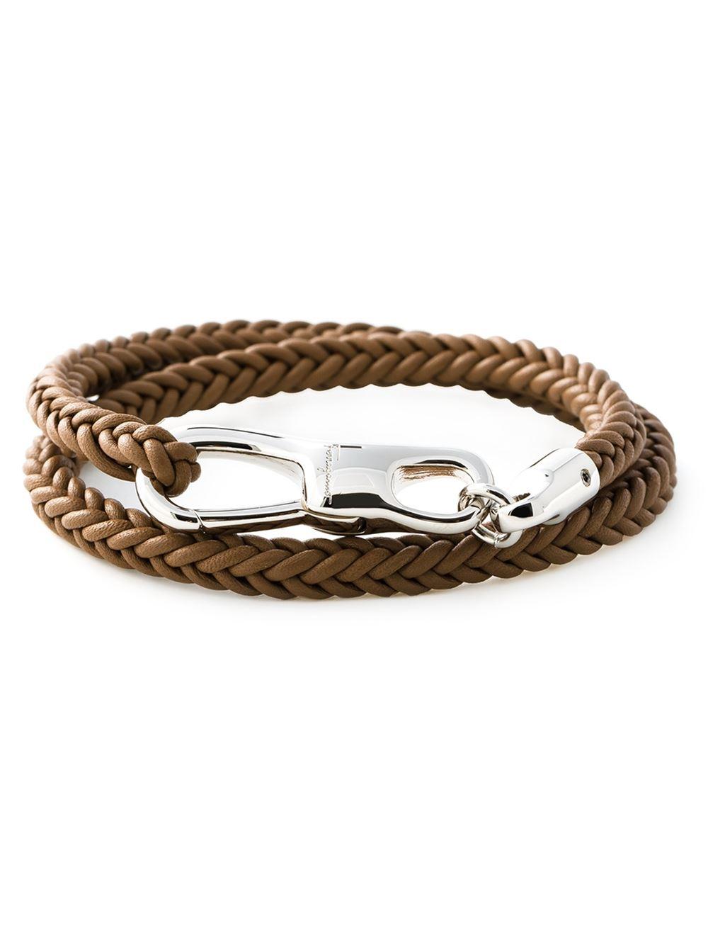 ferragamo woven bracelet in brown for lyst