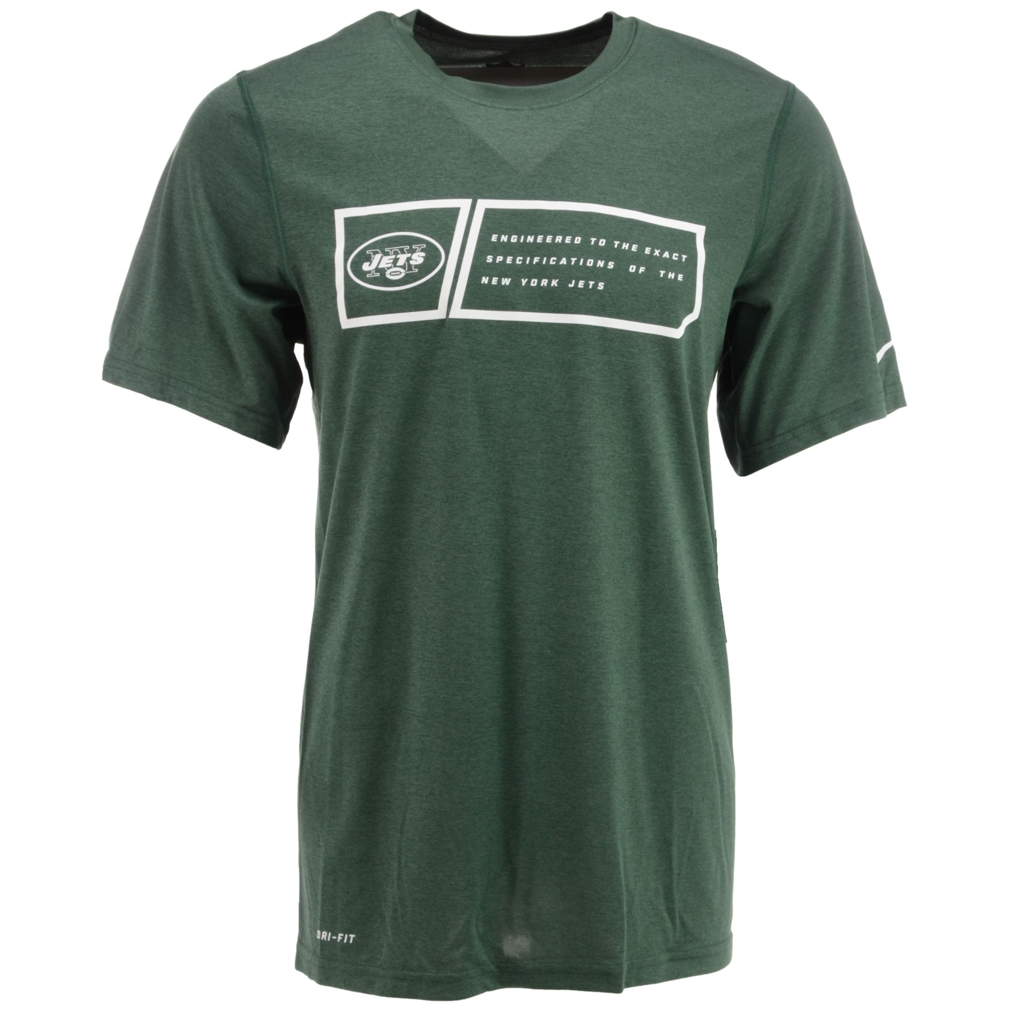 Nike men 39 s short sleeve new york jets dri fit t shirt in for Dri fit dress shirts