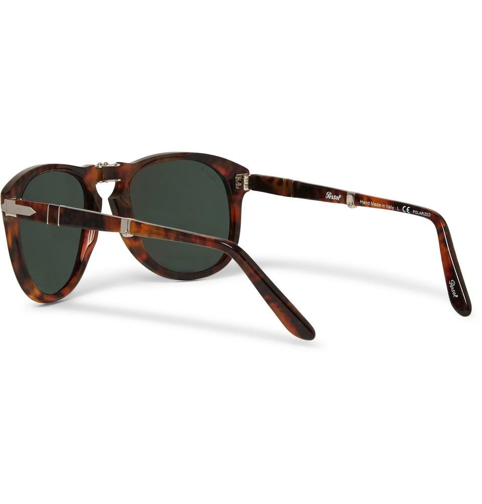 030b65953f Lyst - Persol Round-Frame Folding Tortoiseshell Sunglasses in Brown ...