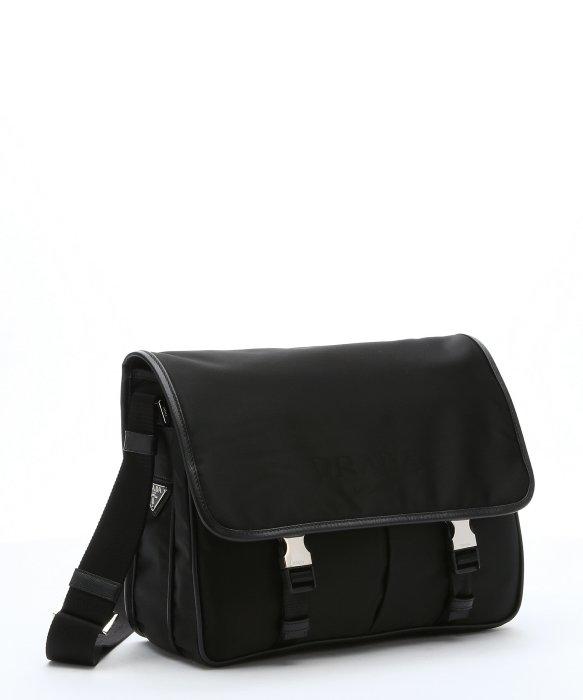prada look alike bags - Prada Black Nylon Logo Flap Messenger Bag in Black for Men | Lyst