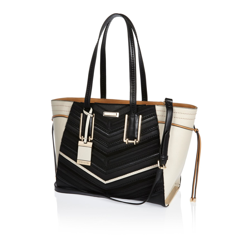 River Island Black Winged Tote Handbag in Black - Lyst 70f5985f817d9