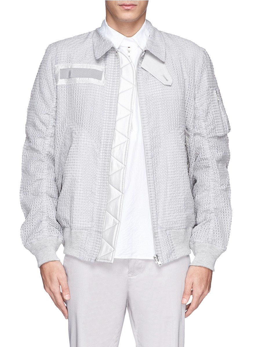 lyst sacai seersucker bomber jacket in gray for men. Black Bedroom Furniture Sets. Home Design Ideas