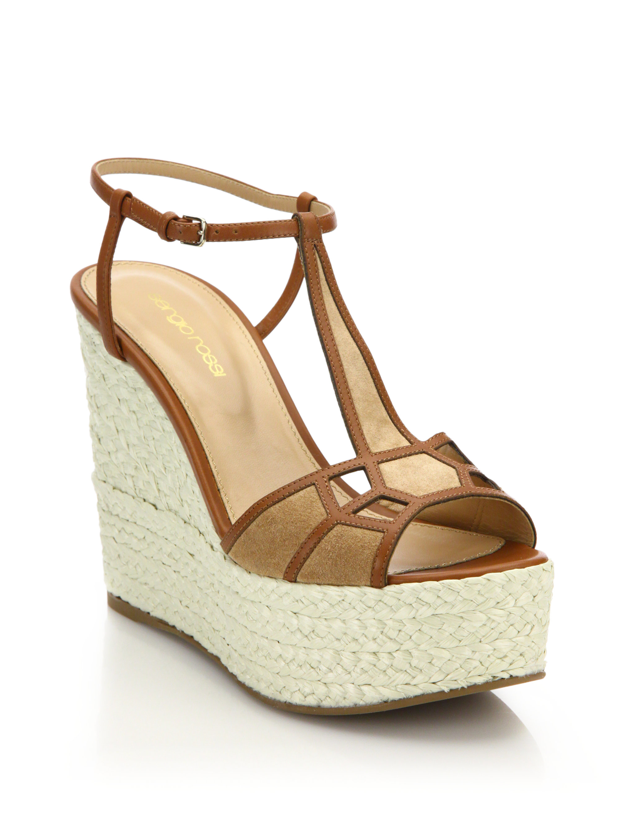 Sergio Rossi Platform sandals smooth leather suede white GsolcZ