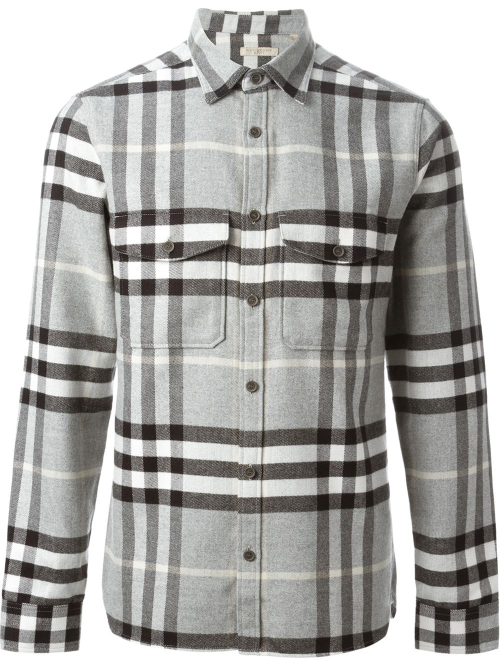 Lyst Burberry Brit Checked Flannel Shirt In Gray For Men