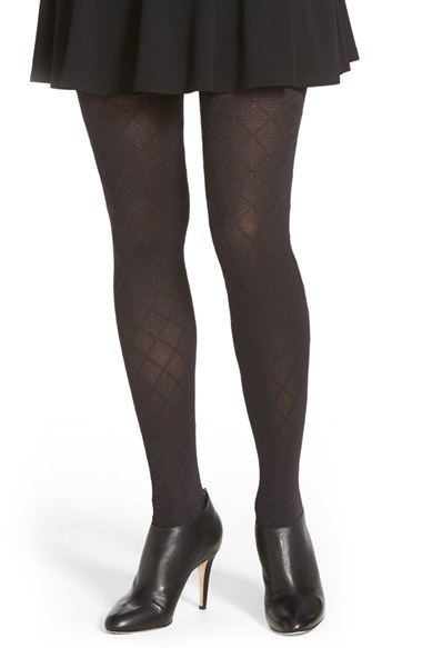 e44ac85433160 Hue Diamond Textured Control Top Tights in Black - Lyst