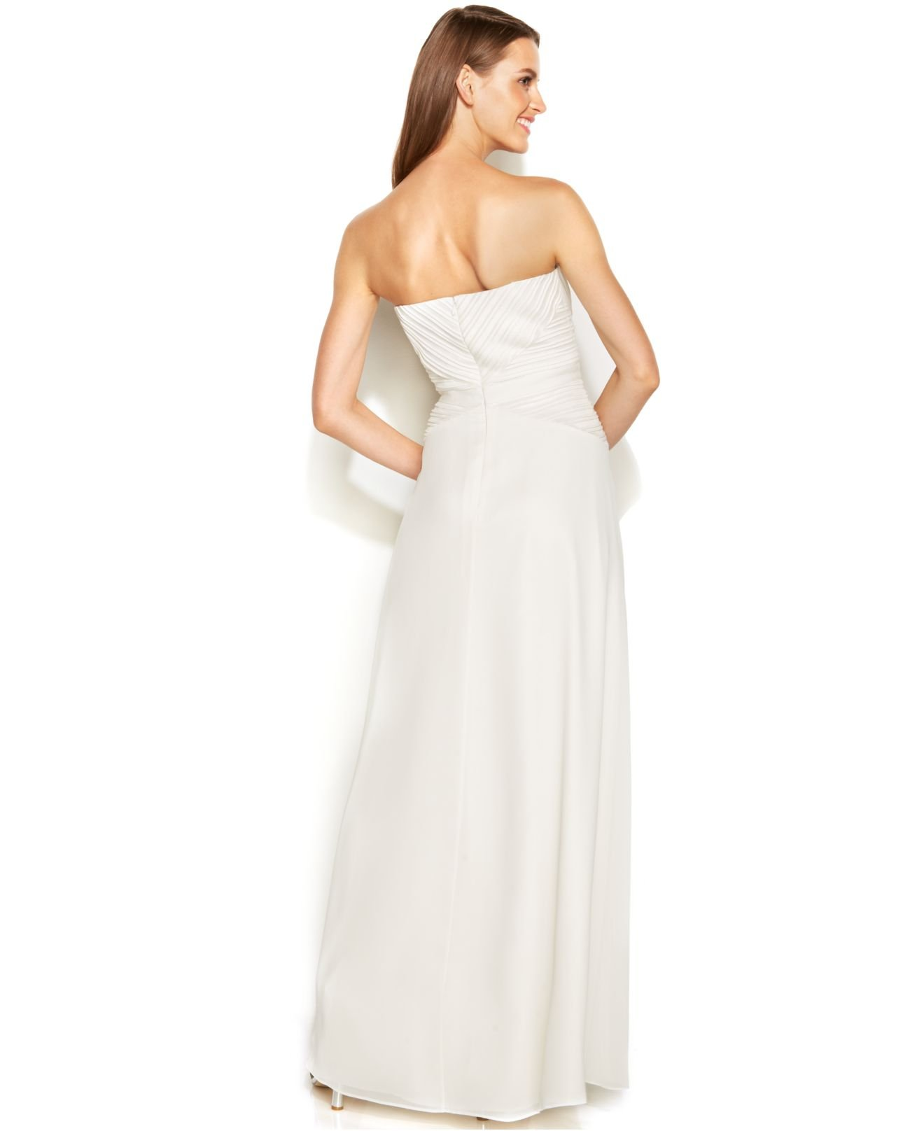 Lyst - Calvin Klein Strapless Pleated Bridal Gown in White