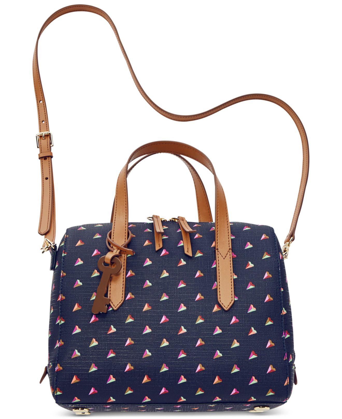 Fossil Sydney Printed Hearts Satchel Bag in Blue | Lyst