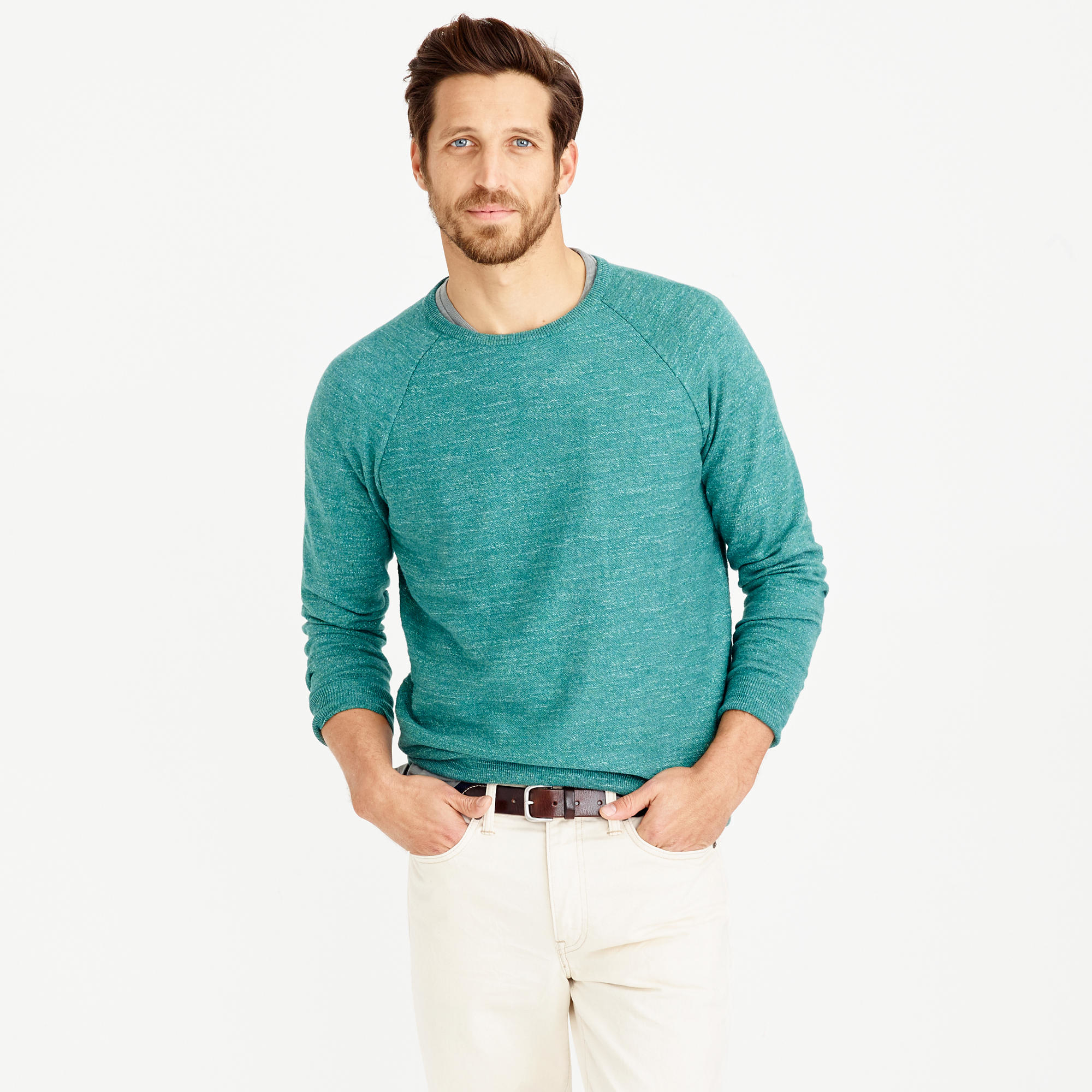 42d9098e4 J.Crew Tall Rugged Cotton Sweater in Green for Men - Lyst