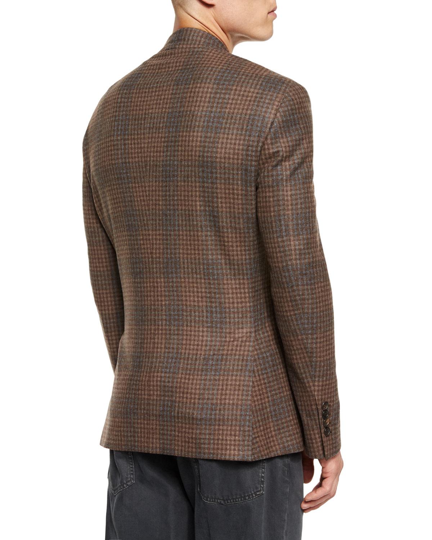 Brunello Cucinelli Plaid Two Button Flannel Sport Coat In