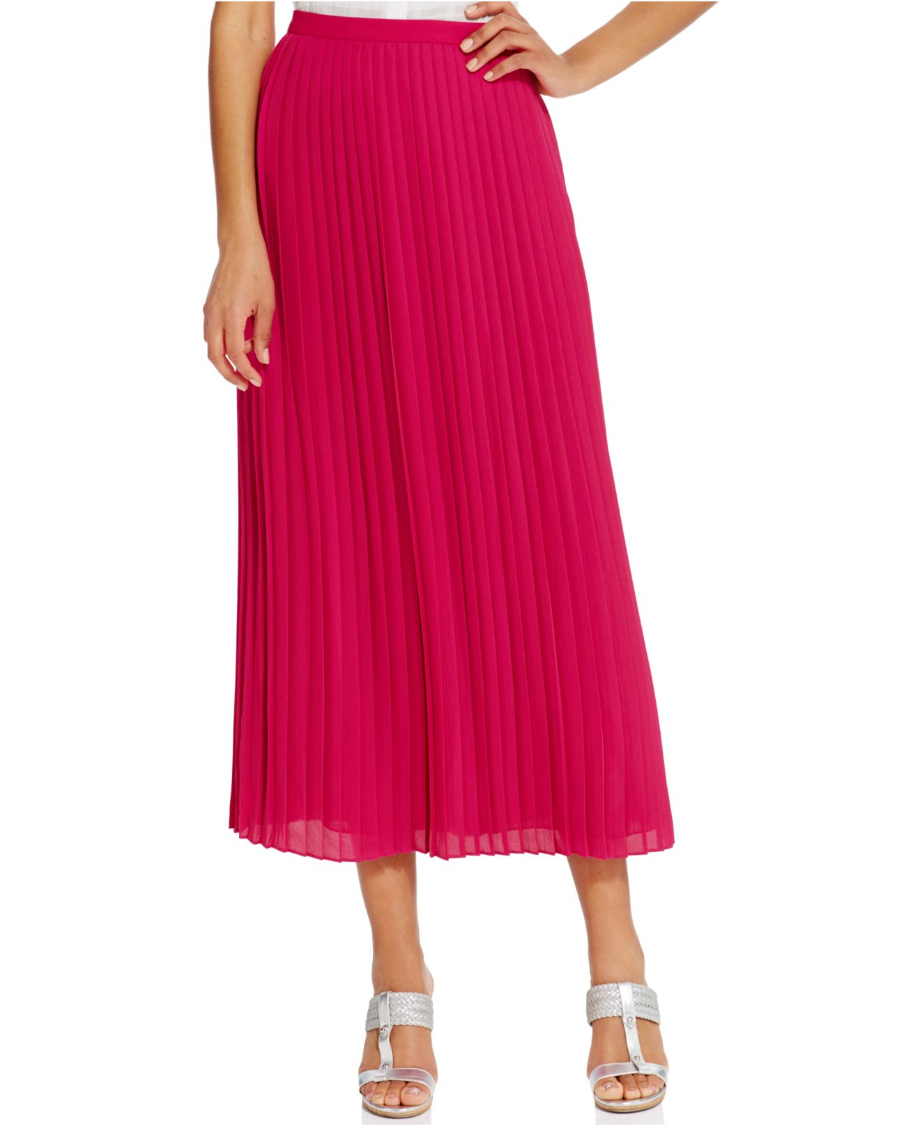 Tommy hilfiger Pleated Solid Maxi Skirt in Pink | Lyst