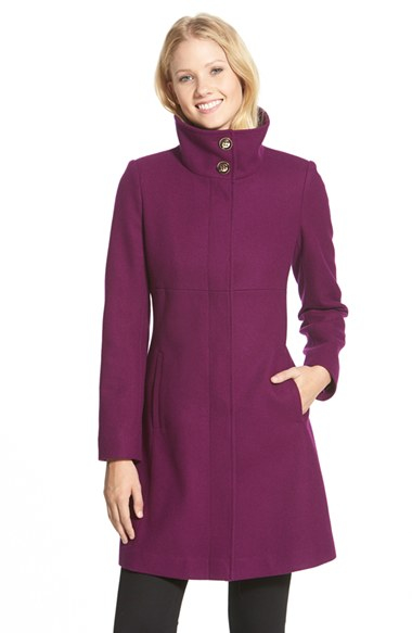 Via spiga Stand Collar Wool Blend A-line Coat in Purple | Lyst