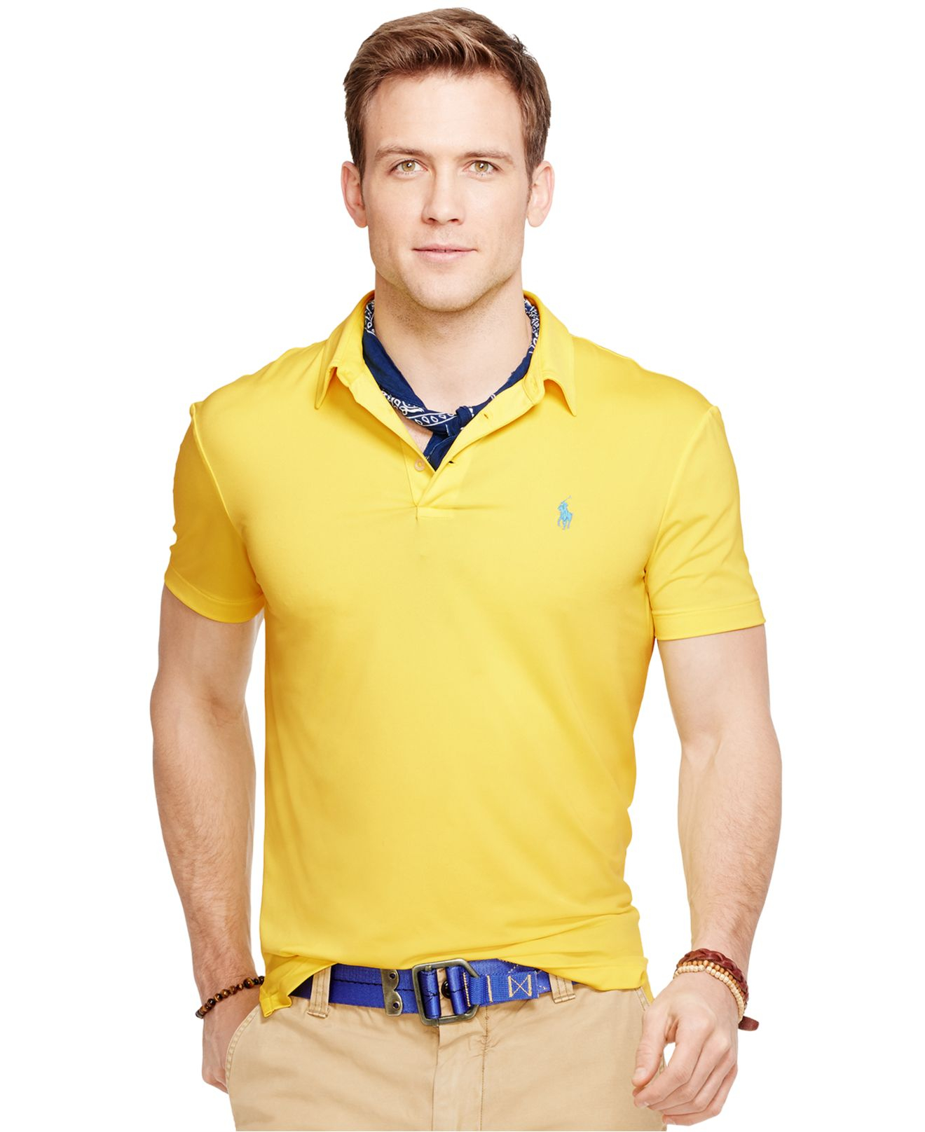 Lyst Polo Ralph Lauren Performance Polo Shirt In Yellow For Men