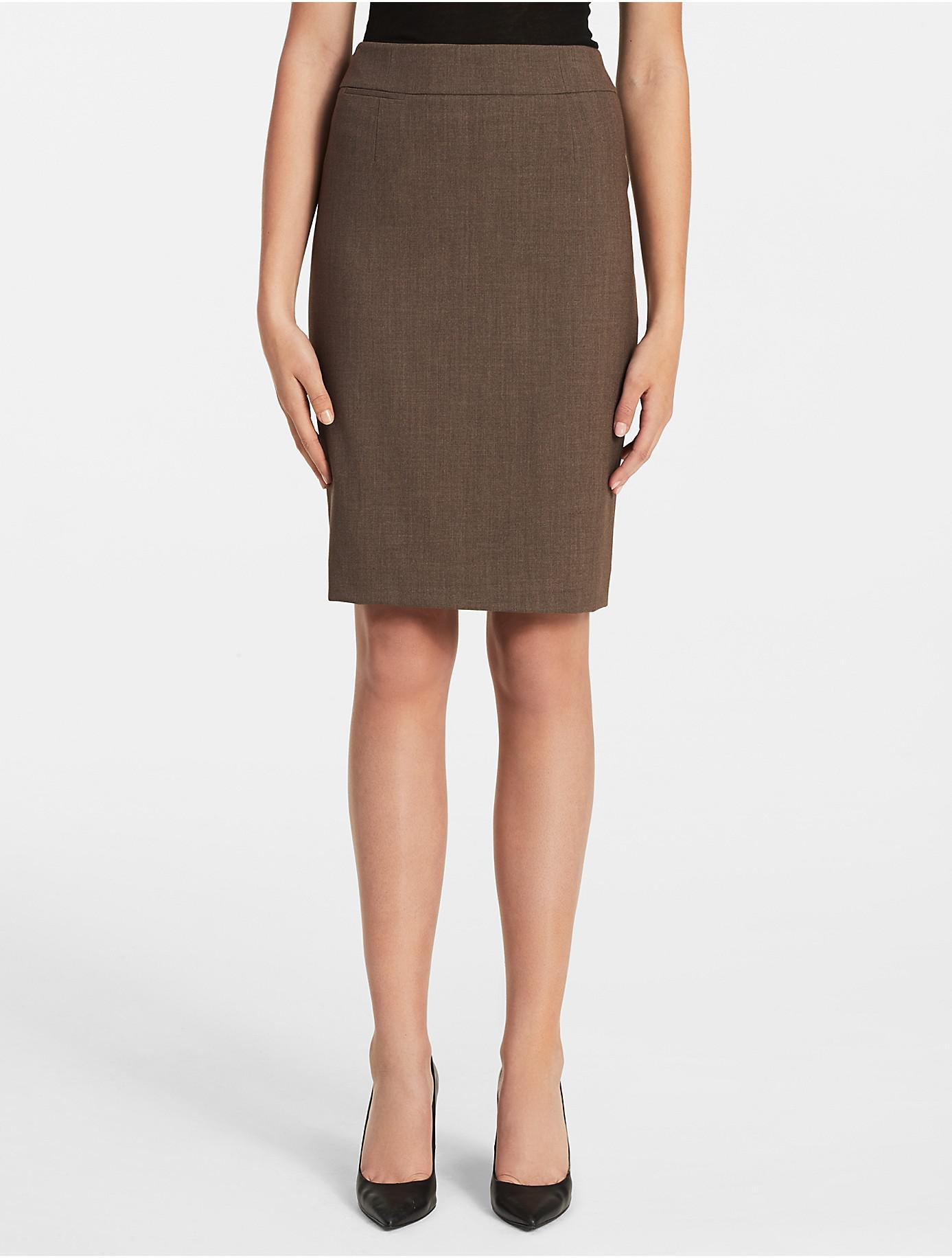 3627d6157784a Lyst - Calvin Klein Straight Pencil Cream Suit Skirt in Brown