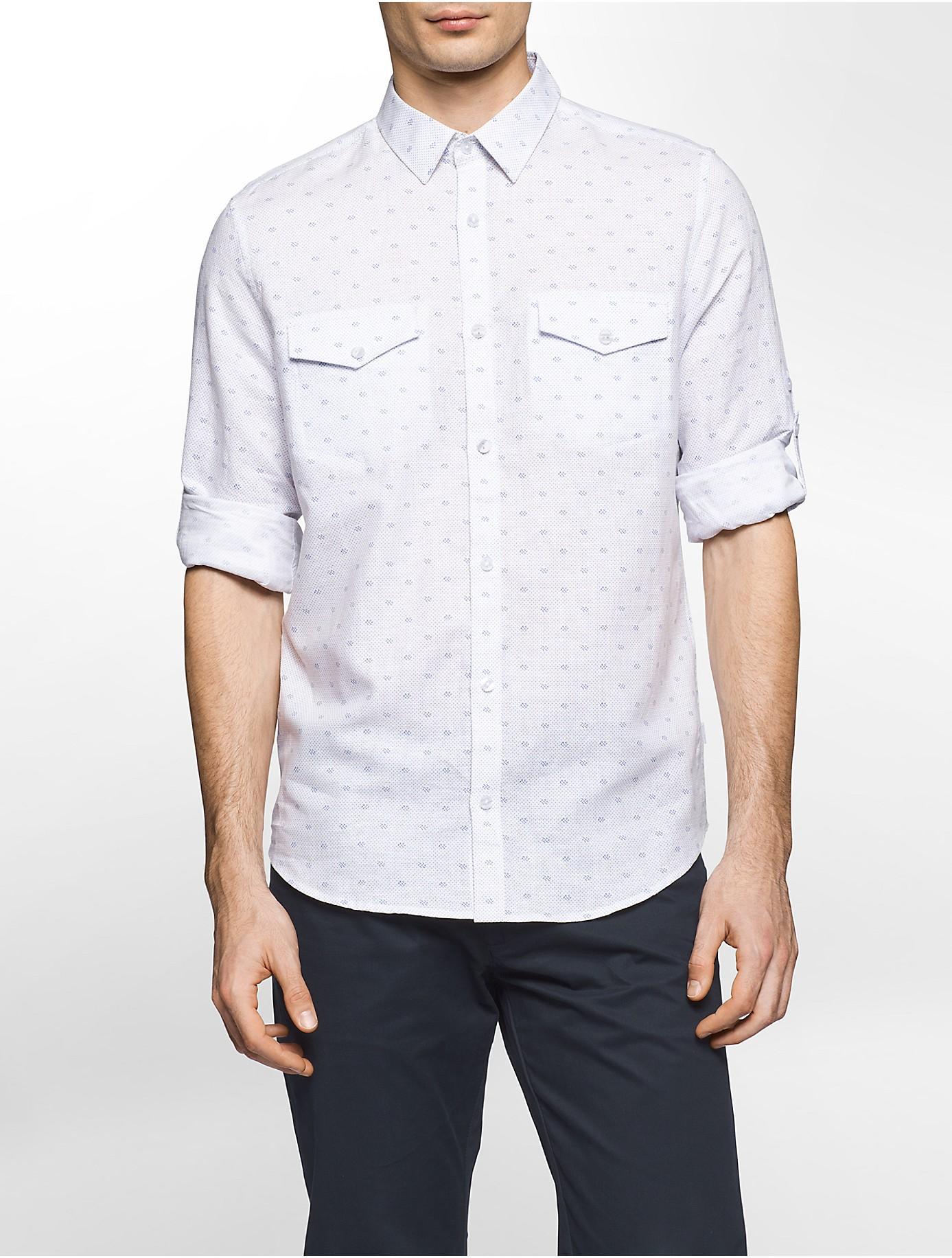 Calvin klein slim fit linen cotton roll up shirt in white for Slim fit white linen shirt