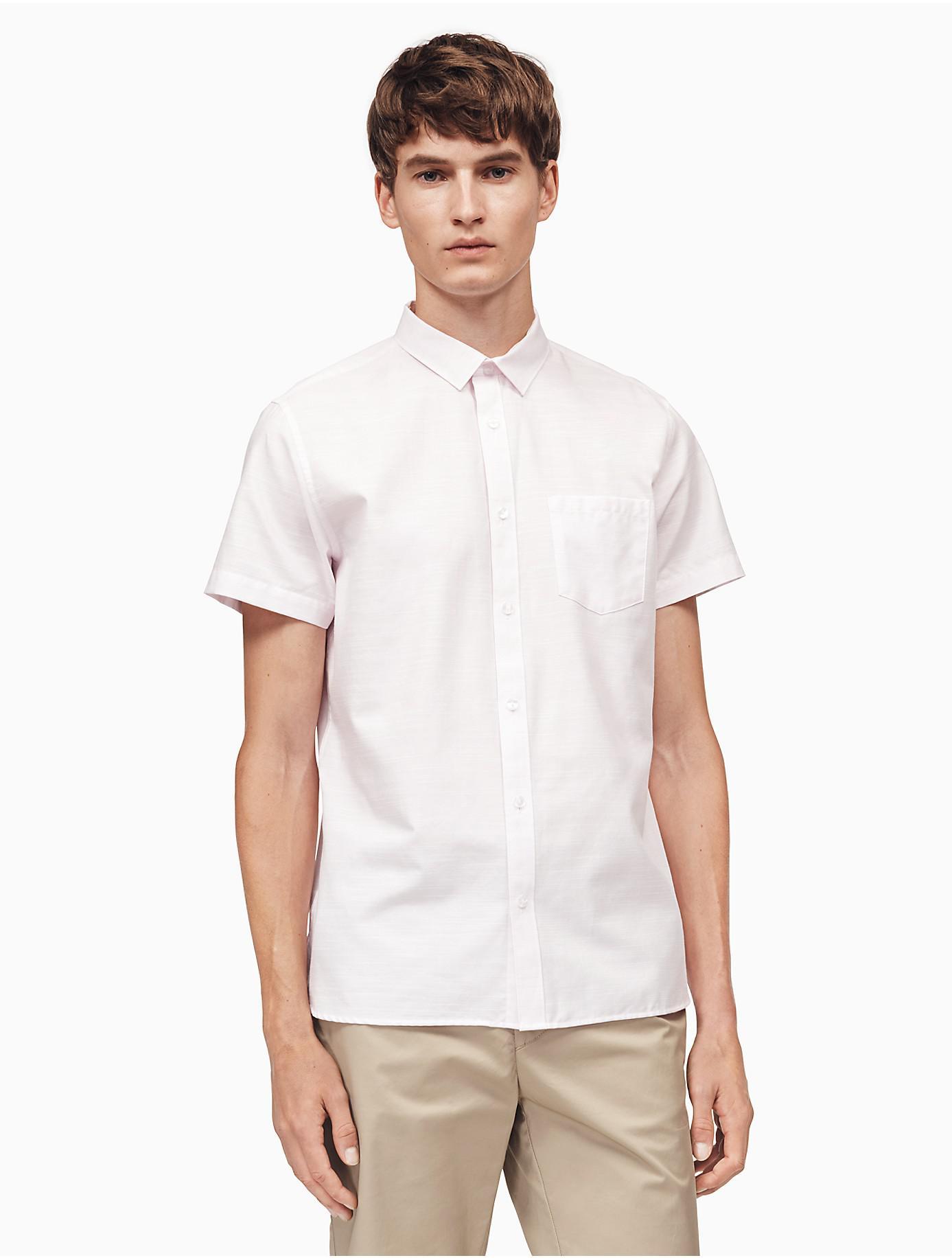 3c8d6a75fbb Lyst - Calvin Klein Classic Fit Cotton Slub Shirt in White for Men ...