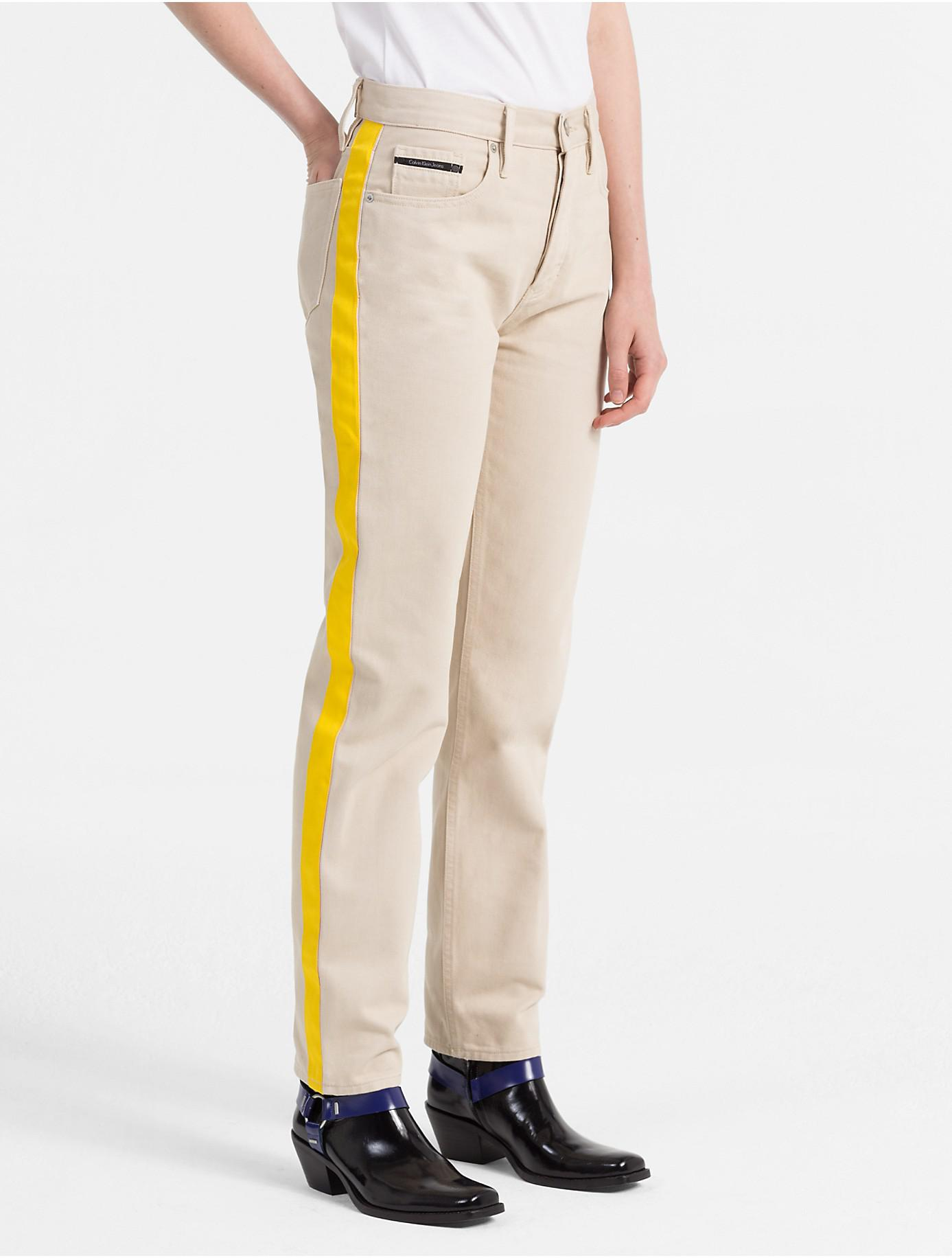 CALVIN KLEIN 205W39NYC. Women's Straight Tapered High Rise Striped Jeans