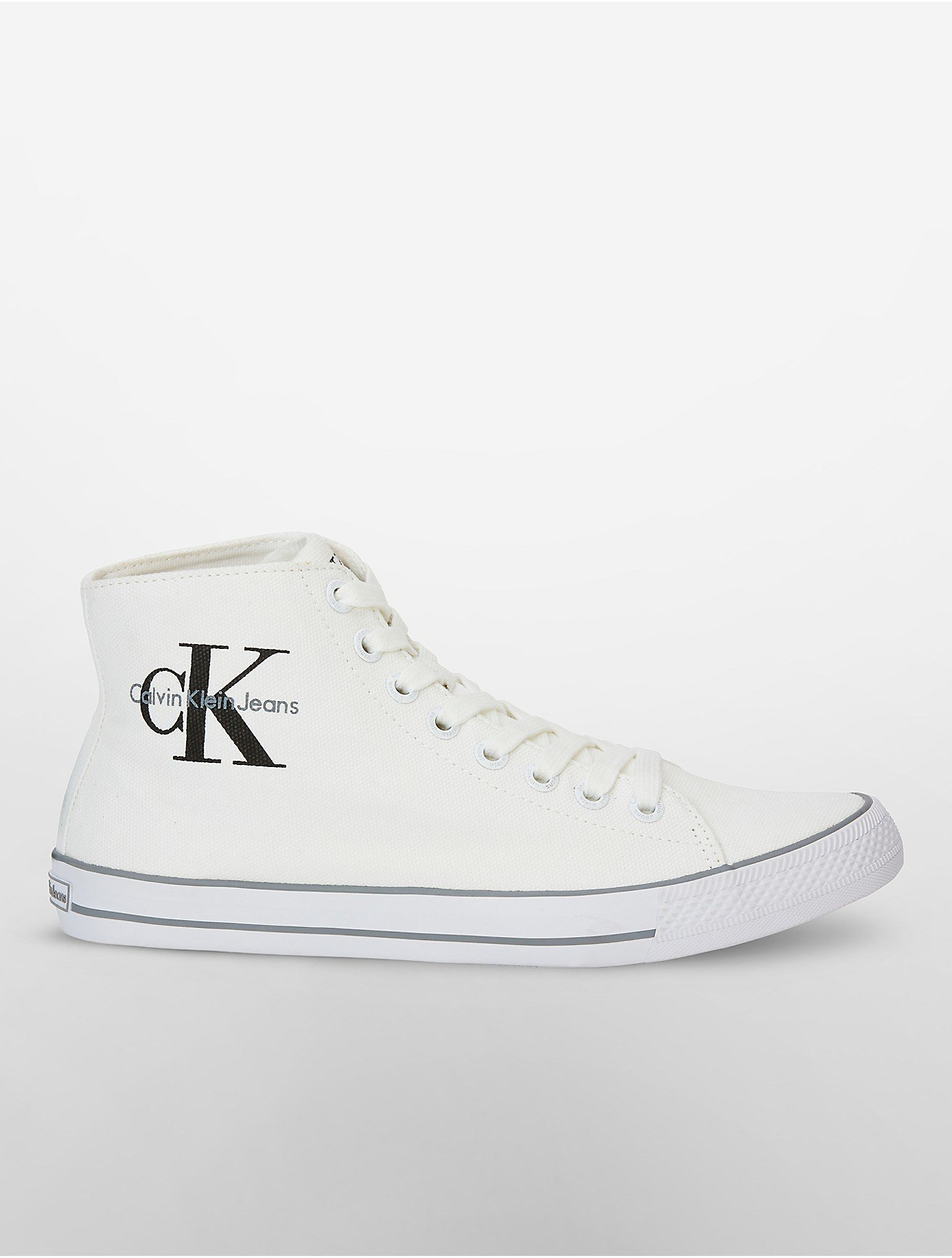 calvin klein jeans ozzy high top canvas sneaker in white. Black Bedroom Furniture Sets. Home Design Ideas