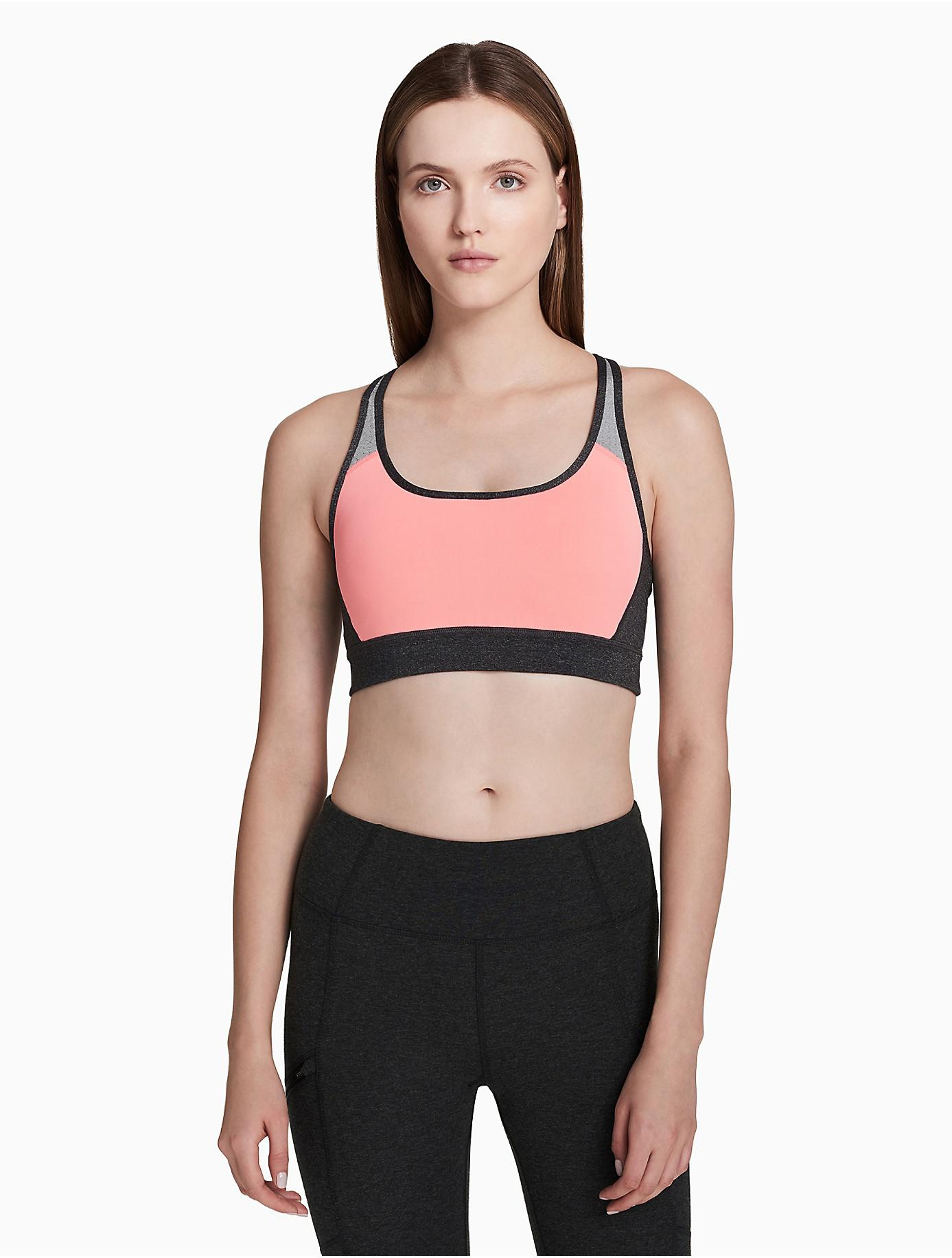 ad783cd932516 Lyst - Calvin Klein Performance Colorblock Mesh Keyhole Bralette