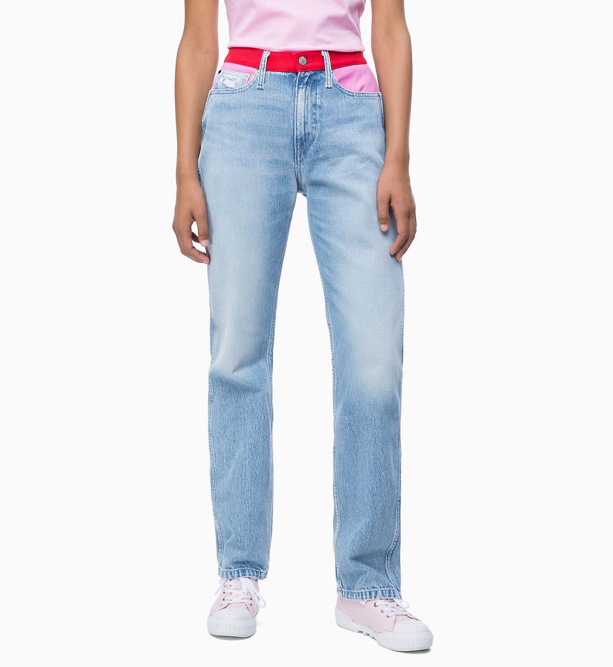 Calvin Klein Ckj 030 High Rise Straight Blocked Jeans in Blue - Lyst 0a6fc64dcd