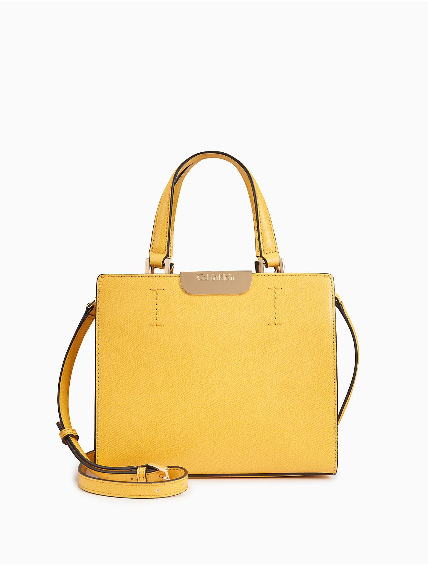 1ee6e8dbbf Lyst - Calvin Klein Saffiano Leather Crossbody Bag in Yellow