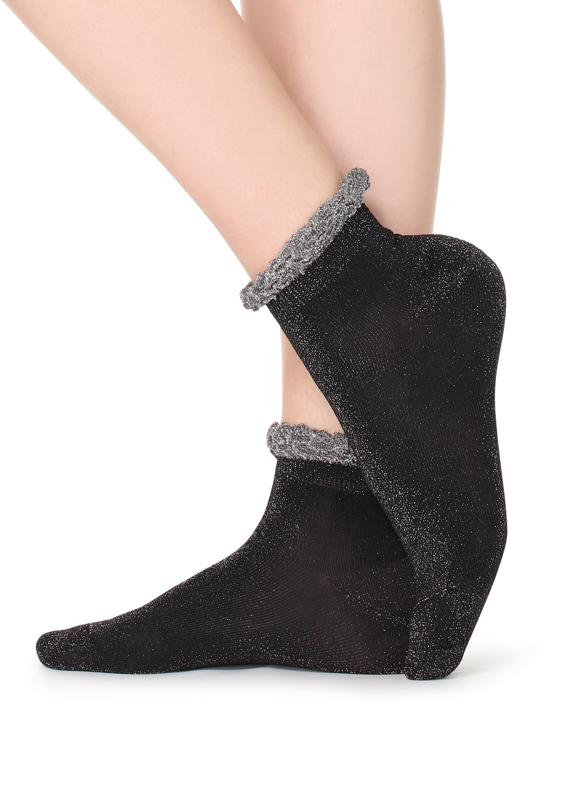 39aebdb51 Lyst - Calzedonia Short Patterned Cotton Socks in Black