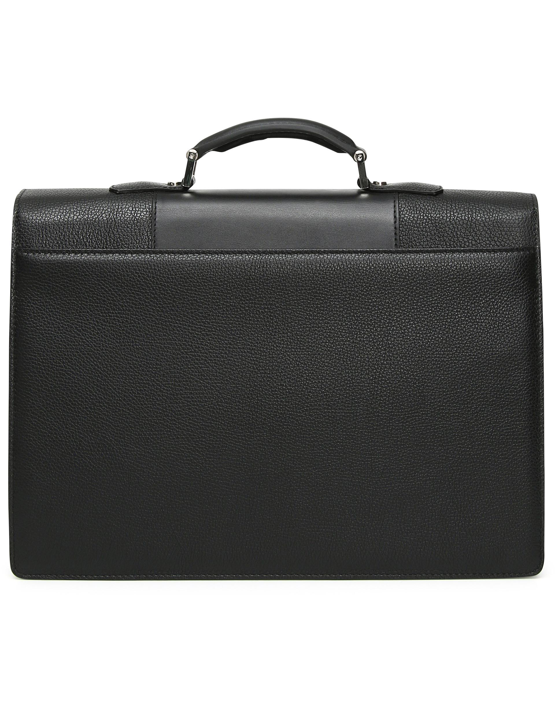 Lyst - Canali Black Tumbled Calfskin Leather Briefcase in Black for Men 6f4bd9f81e8c9