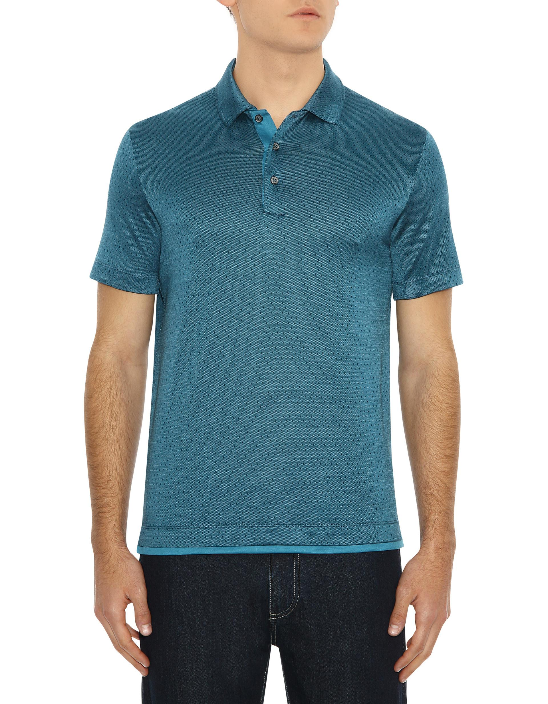ecacb3c4a35 Lyst - Canali Teal Mercerized Cotton Polo Shirt With Micro-motif in Blue  for Men
