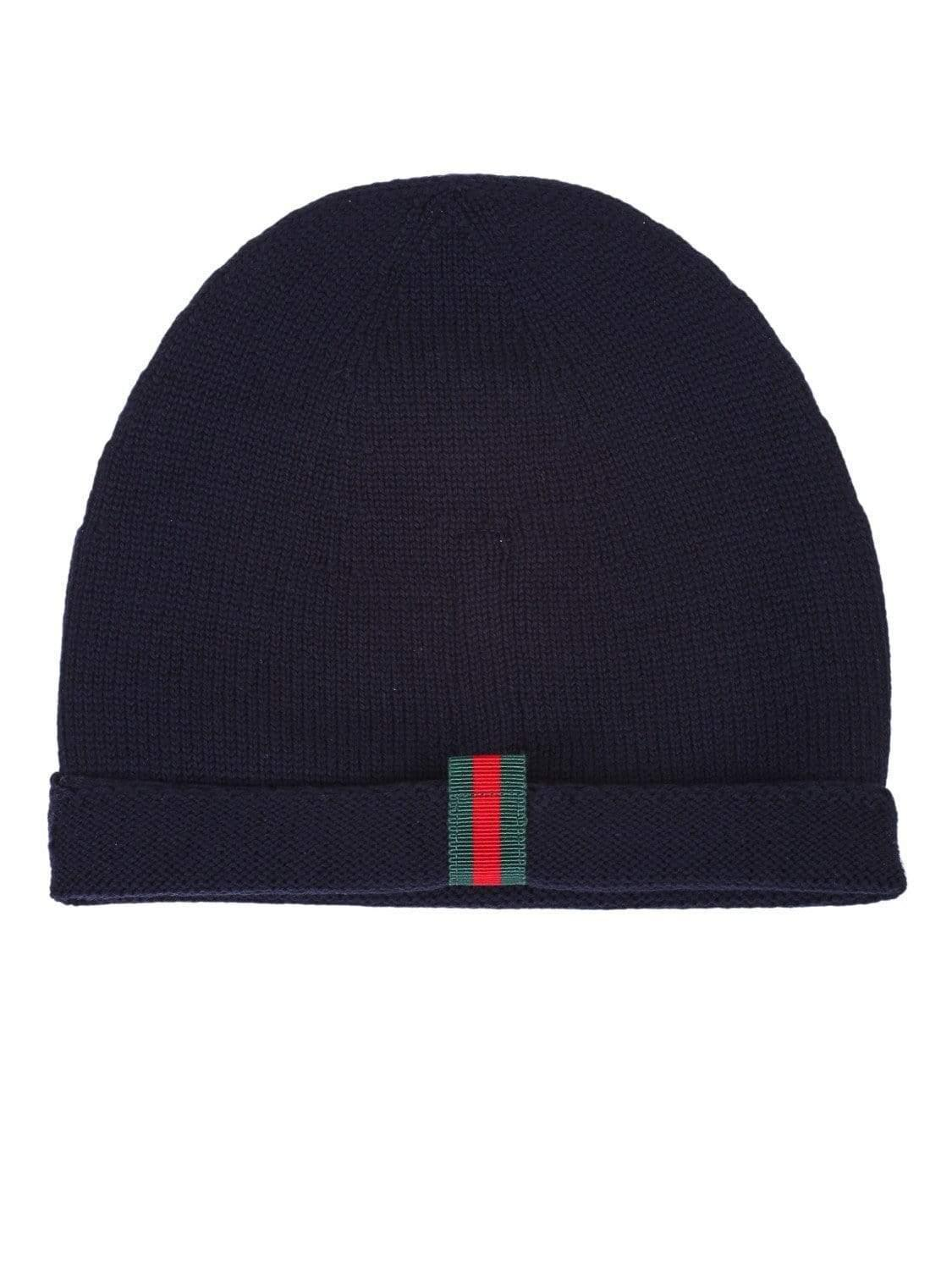 bc6ff86d16733 Lyst - Gucci Blue Knitted Wool Hat With Web Detail On The Back in ...