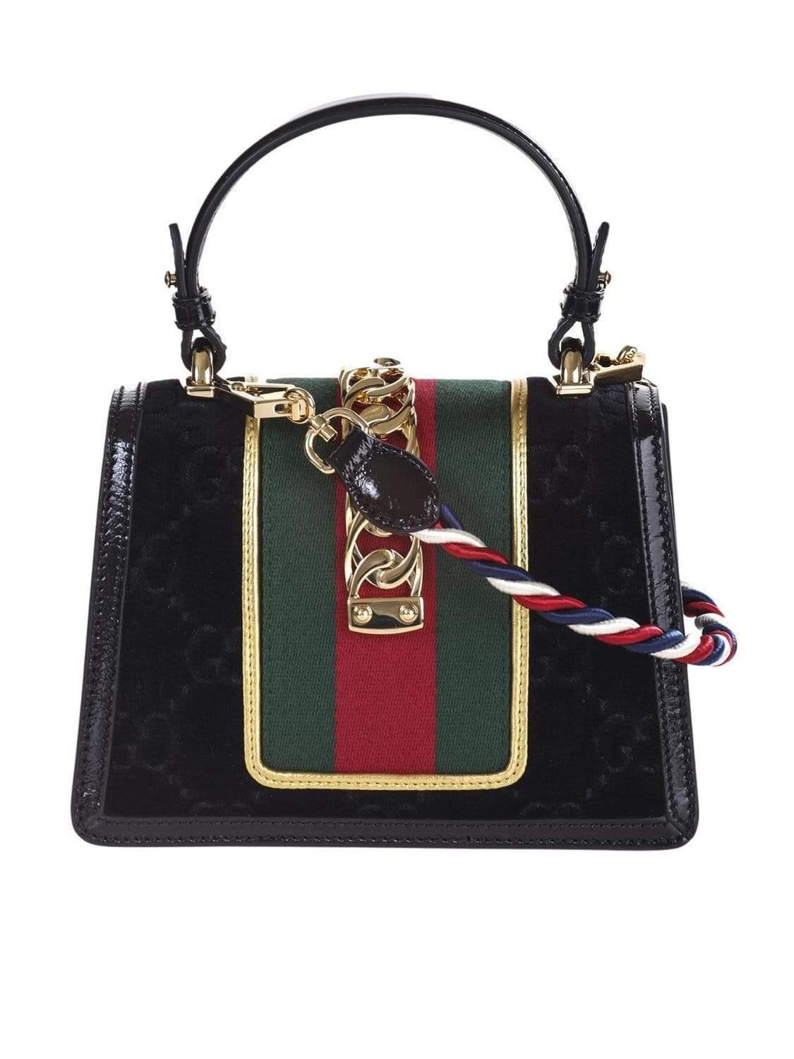cdc34d14963 Lyst - Gucci Sylvie Mini Bag In Gg Black Velvet With Black Patent Leather  Trim in Black