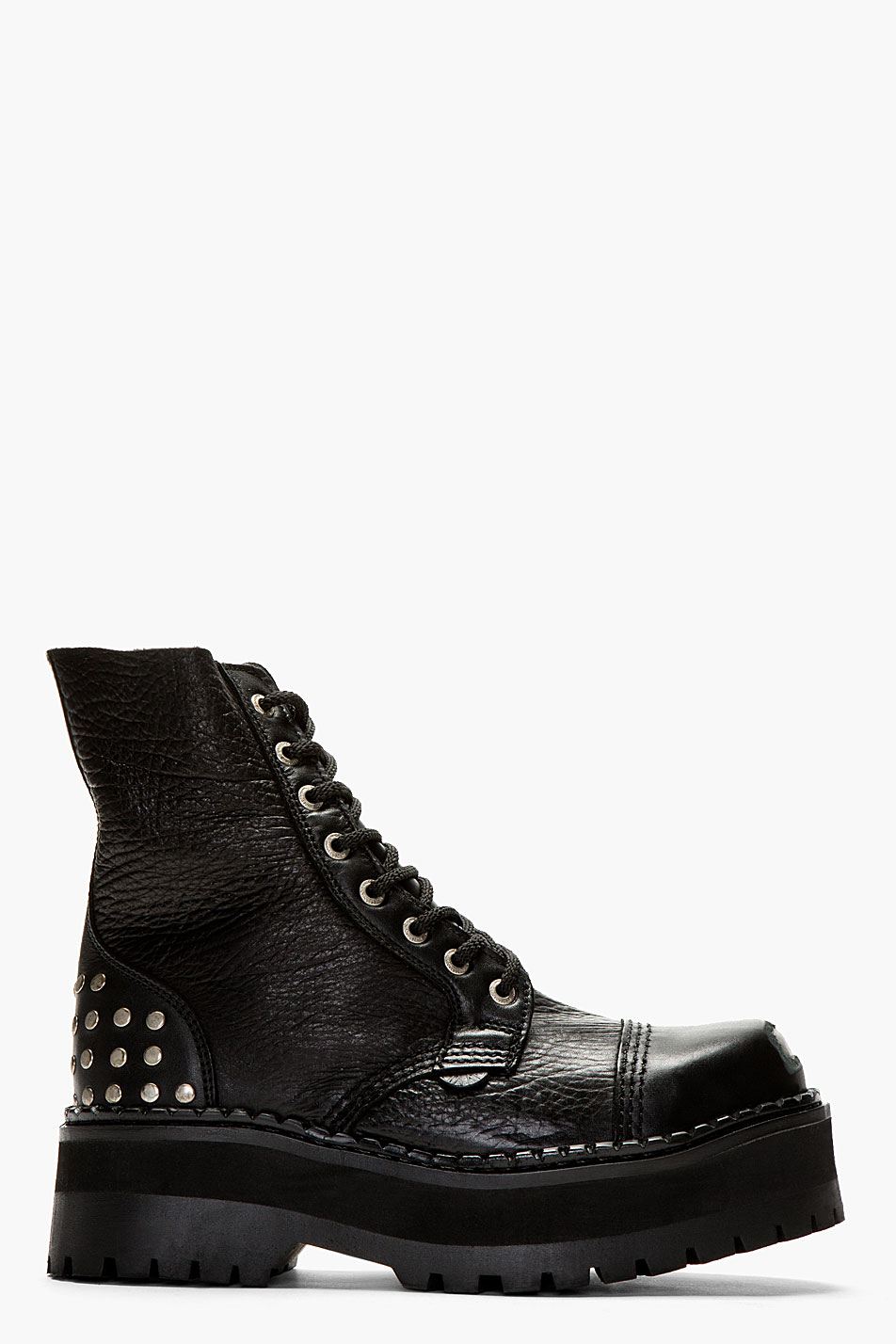 Underground Black Leather Steel Toe Platform Combat Boots