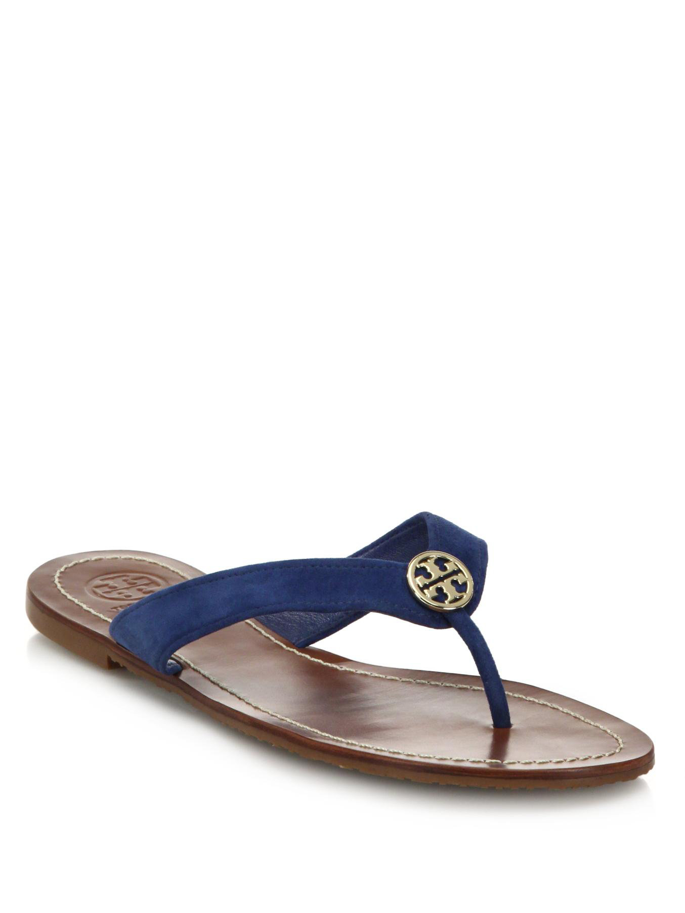748e642d2 Lyst - Tory Burch Thora Suede Logo Thong Sandals in Blue