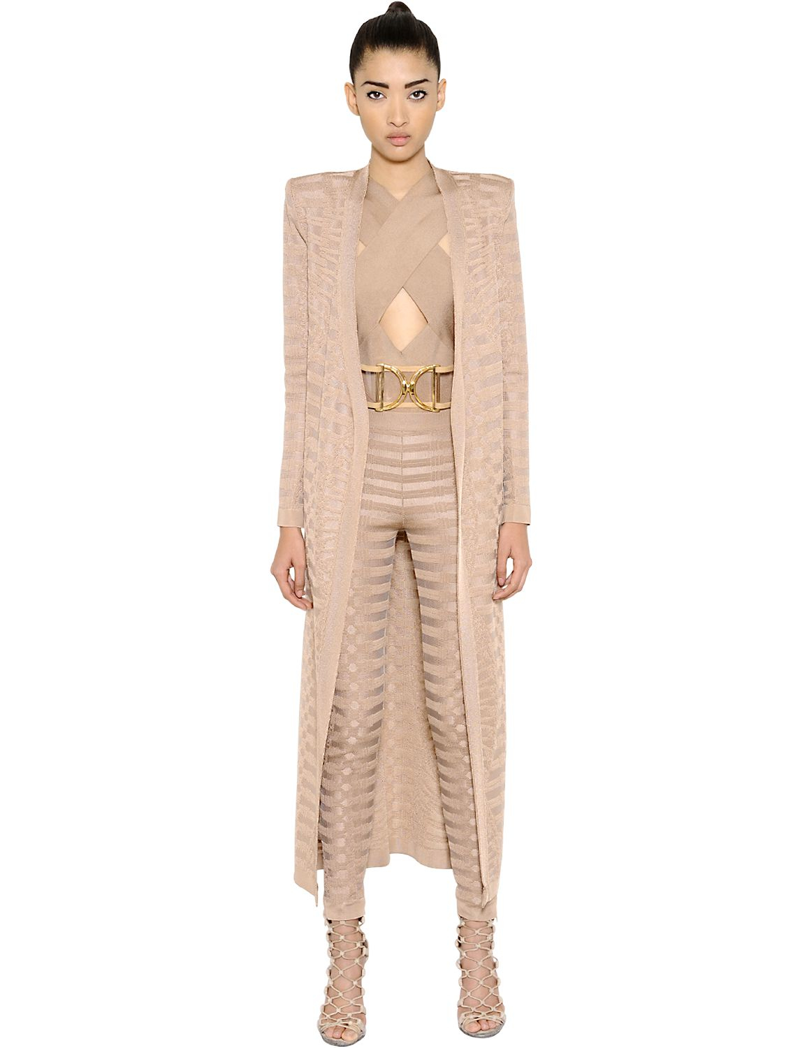 Balmain Stretch Viscose Long Cardigan in Natural | Lyst