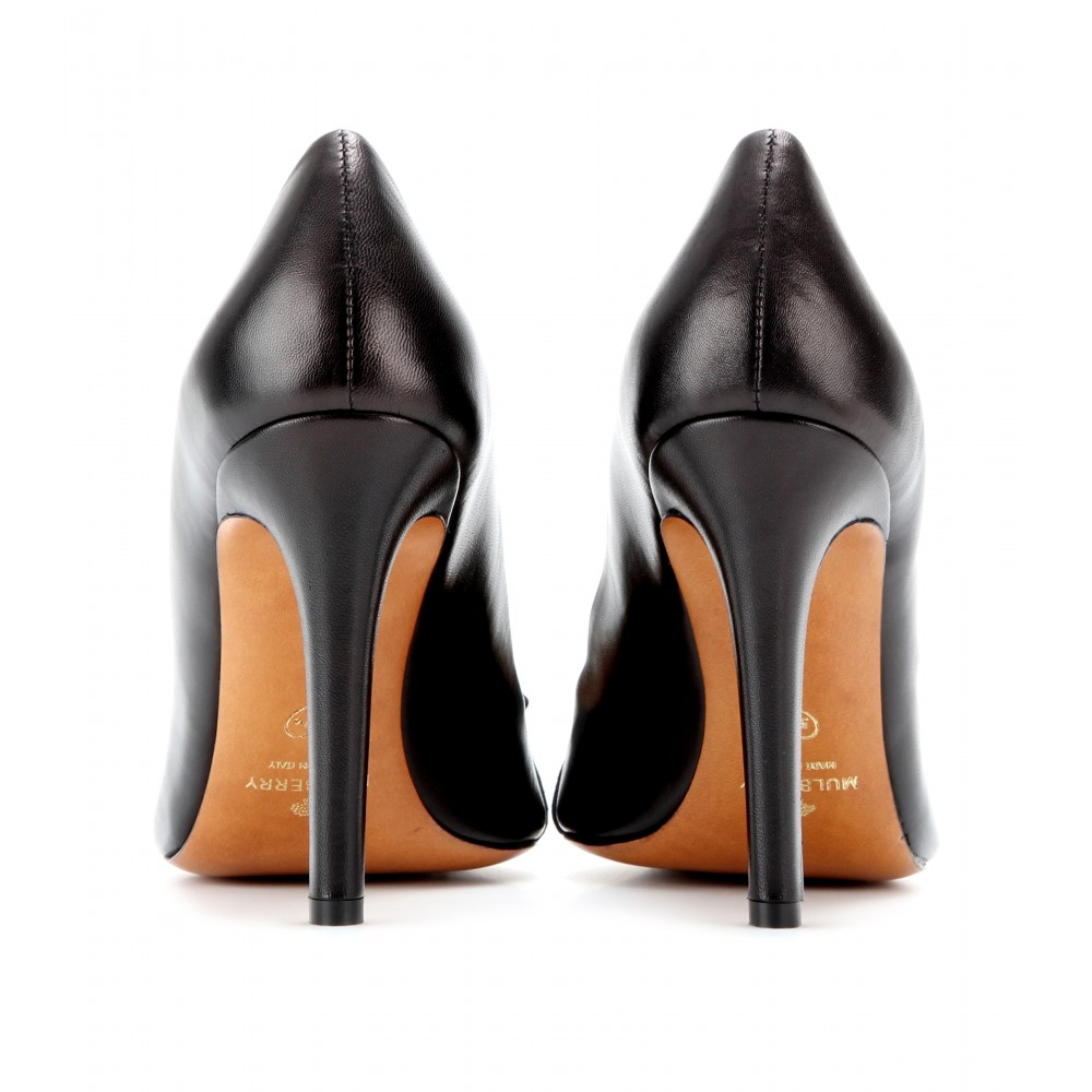 03104a647b14 Mulberry Bow Leather and Patentleather Pumps in Black - Lyst