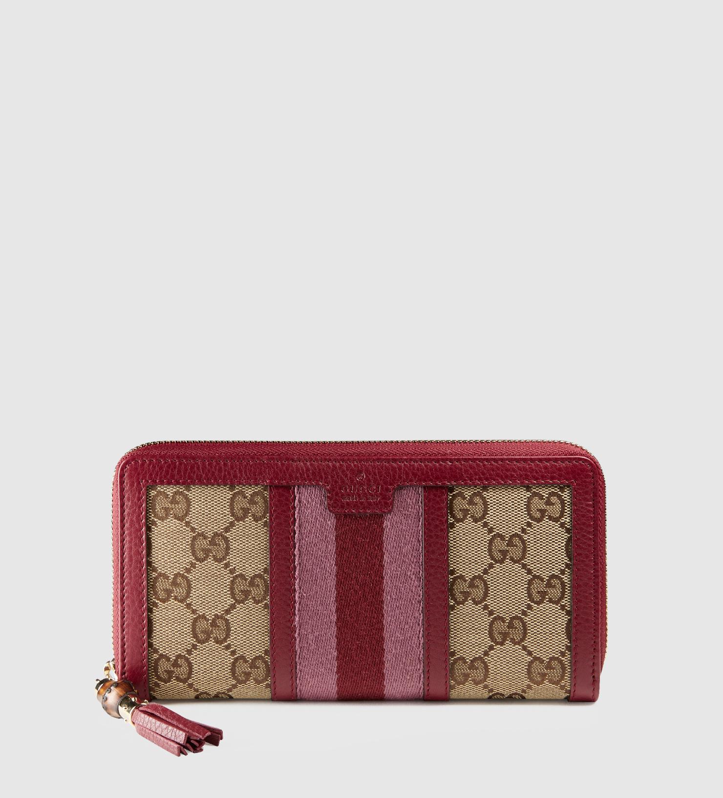 1718dd1f7021 Gucci Rania Original Gg Canvas Zip Around Wallet in Red - Lyst