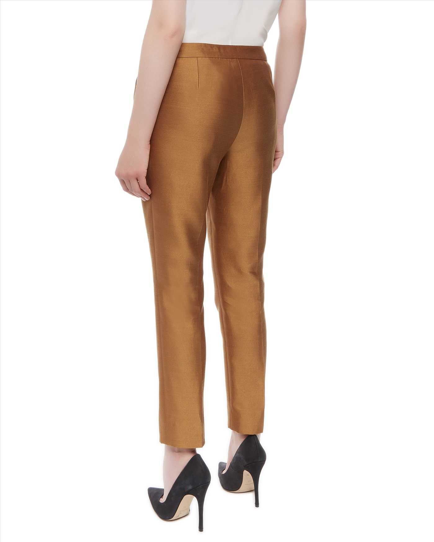 Jaeger Silk Cotton Capri Trousers in Metallic | Lyst