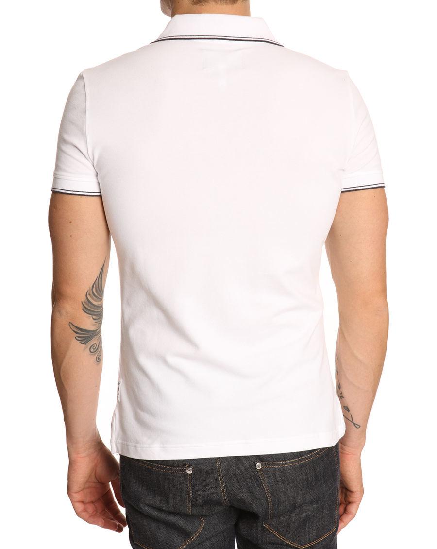 Armani jeans white polo shirt with black trim in white for for White shirt with black