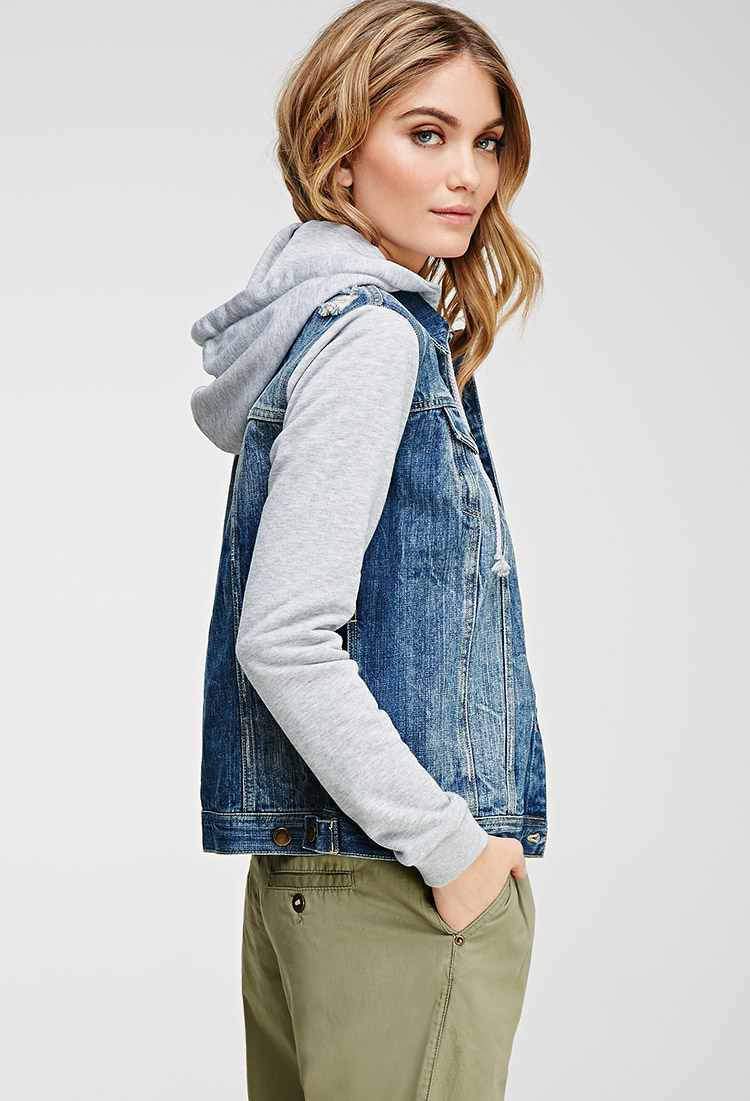 Forever 21 Contemporary Life In Progress Hooded Denim Jacket In Blue